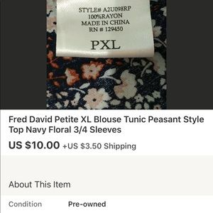 Fred David Tops - Fred David Floral Peasant Style Blouse